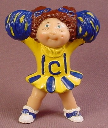 Cabbage Patch Kids Mini PVC Figure Cheerleader In Yellow & Blue Outfit, 2 1/2 Inches Tall