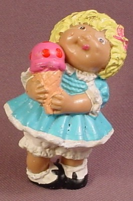 Cabbage Patch Kids Mini PVC Figure With Blonde Hair In Blue Dress Holding Ice Cream Cone