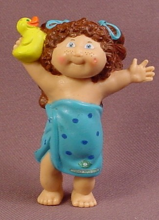 Cabbage Patch Kids Mini PVC Figure With Brown Hair In Blue Towel Holding A Rubber Ducky
