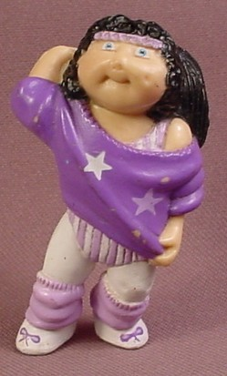 Cabbage Patch Kids Mini PVC Figure With Black Hair In Purple Dance Outfit, 2 1/2 Inches Tall