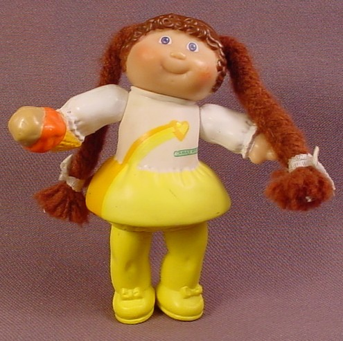 Cabbage Patch Kids Poseable PVC Figure With Brown Yarn Hair Holding An Ice Cream Cone
