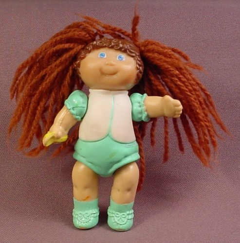 Cabbage Patch Kids Poseable PVC Figure With Brown Yarn Hair In An Aqua & White Outfit