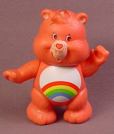 Care Bears Cheer Bear Poseable PVC Figure, 3 3/8 Inches Tall, 1985 Kenner ACG
