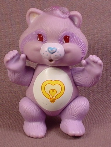 Care Bears Bright Heart Raccoon Cousin Poseable PVC Figure, 3 1/2 Inches Tall, 1985 Kenner