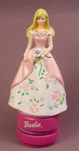 Barbie In Pink & White Gown Figure Rubber Stamp, 4 1/4 Inches Tall, Figural Stamp