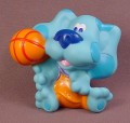 Blue's Clues Blue With A Basketball Vinyl Figure, 2 3/4 Inches Tall, 2000 Mattel, Blues Clues