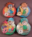 Digimon Set Of 4 Drink Coasters With Characters On Them, 3 1/8 Inches Across, 3/8 Inch Thick