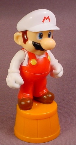 Nintendo Mario Bros Mario Figure Standing On A Half Barrel, White Hat, Plastic Body & Head