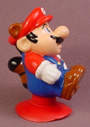 McDonalds 1990 Nintendo Mario Bros Mario PVC Figure With A Tail & Ears, Suction Cup Base