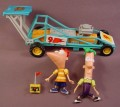 Disney Phineas & Ferb Dragster Racecar Set, Has 2 PVC Figures, Car & Pretend Remote Control