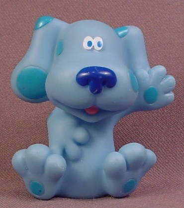 Blue's Clues With One Raised Arm Figure Toy, 2 1/8 Inches Tall, Hollow Vinyl, 2005 Mattel