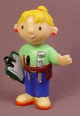 Bob The Builder Wendy With Clipboard & Tools PVC Figure, 2 1/8 Inches Tall, 2001 Applause