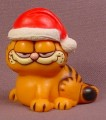 Garfield The Cat With Santa Claus Hat PVC Figure, 2 Inches Tall, 1978, United Feature