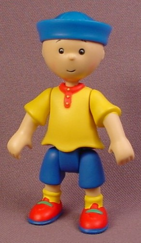 Caillou Articulated Figure With Blue Sailor Hat, 3 3/8 Inches Tall, 2002 Irwin, Cinar