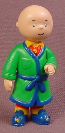 Caillou With Green Robe PVC Figure, 2 1/2 Inches Tall, 2000, Cinar