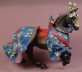 Plastoy Medieval Black Knight's Horse With Blue Blanket With Gold Fleur De Lis Pattern
