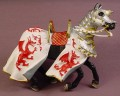 Plastoy Medieval Knight's Horse With White Blanket With Red Dragon Pattern PVC Figure