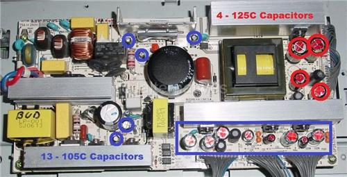 LG 26LC2D LCD TV Repair Kit, 125C and 105C Capacitors Included in this kit.