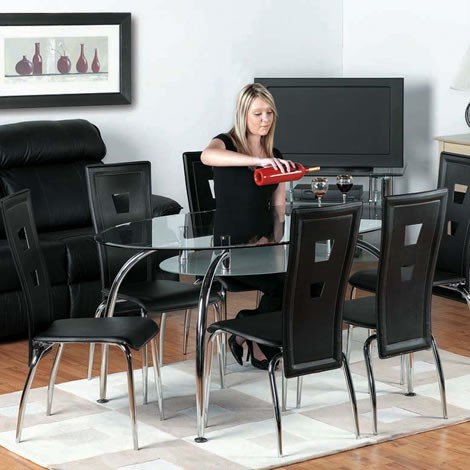 Caravelle Black Oval Glass Dining Table 4 Black Chairs - Soundsrite ...