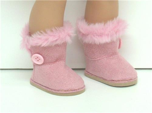 PINK SUEDE BOOTS WITH SIDE BUTTON