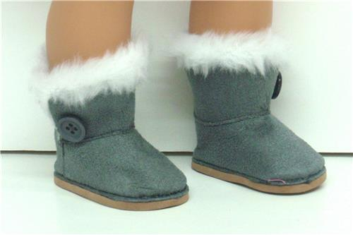 GRAY SUEDE BOOTS WITH SIDE BUTTON