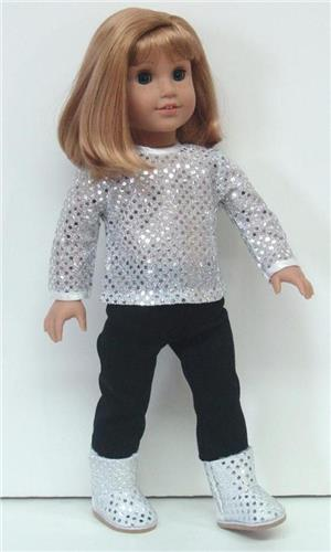 SILVER SEQUIN TOP + BLACK LEGGING PANTS + BOOTS