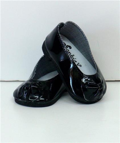 BLACK PATENT SLIP ON SHOES