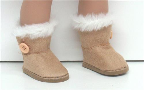 TAN SUEDE BOOTS WITH SIDE BUTTON