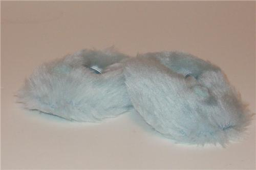 6b6a1720527 BLUE FUZZY SLIPPERS - Amy s Doll Boutique