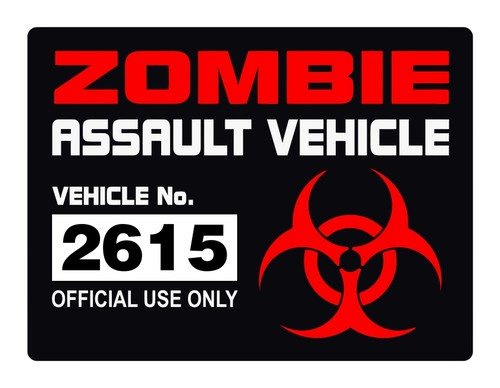 Zombie Assault Vehicle License Vinyl Decal - Sticker License Label Permit.jpeg