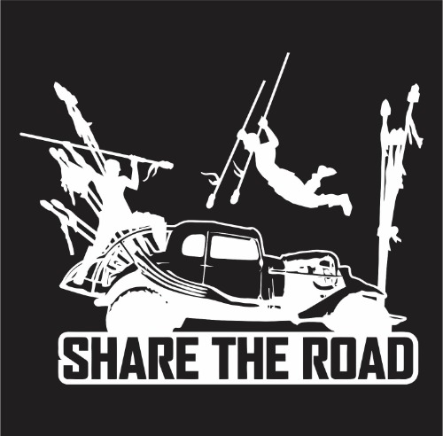Decal - Mad Max Fury Road Share the Road - on black