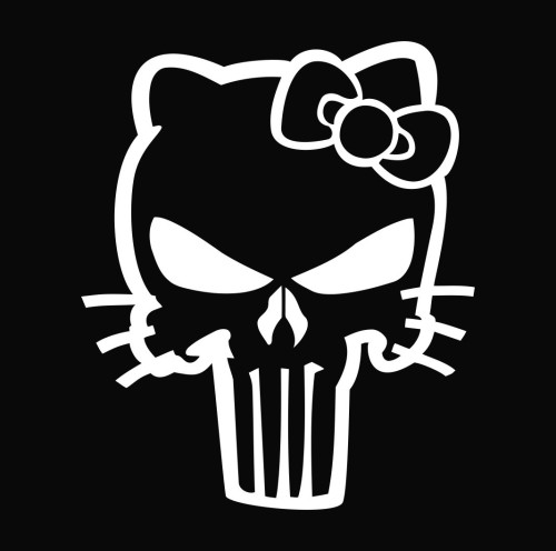 Hello kitty punisher die cut vinyl decal sticker