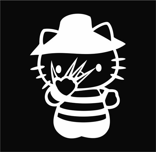 Hello kitty freddy kruger nightmare on elm street die cut vinyl decal sticker