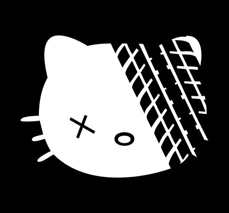 Hello kitty roadkill die cut vinyl decal sticker