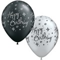 Birthday Elegant Sparkle & Swirls Silver & Black Balloons.jpeg