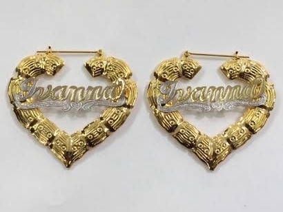 14k Gold Overlay 3 Inch Any Heart Bamboo Hoop Name Earring Personalized