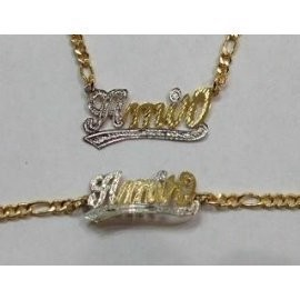 Baby Personalized 14k Gold Overly Name Bracelet And Necklace Set