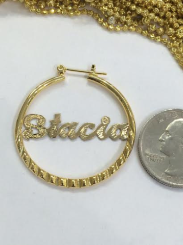personalized name hoop earrings personalized 14k gold overlay any name hoop earrings 1 3 4 4500