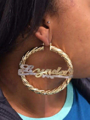 14k Gold Overlay Bamboo Hoop 3 Jumbo Any Name Earring Personalized