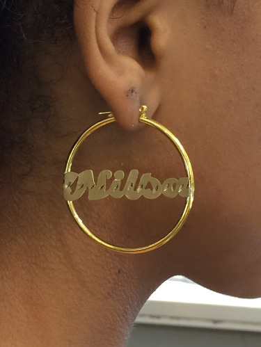 Personalized 14k Gold Overlay Name Hoop Earrings 2 Inch Plain