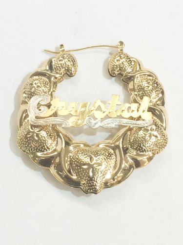 Personalized 14k Gold Overlay Name Hoop Earrings Bamboo Xoxo 1 3 4 Inch Thick C8