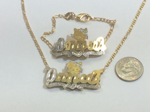 Baby Personalized 14K gold overly Name Bracelet and Name Necklace 3D