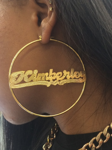 Personalized 14k Gold Overlay Name Hoop Earrings 3 Inch Plain Yellow