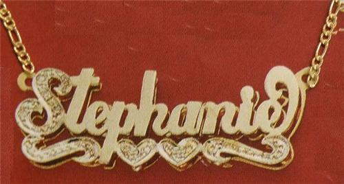 6de1e5448f3a2 10K Gold Double NamePlate Name Necklace free chain Personalized /d6