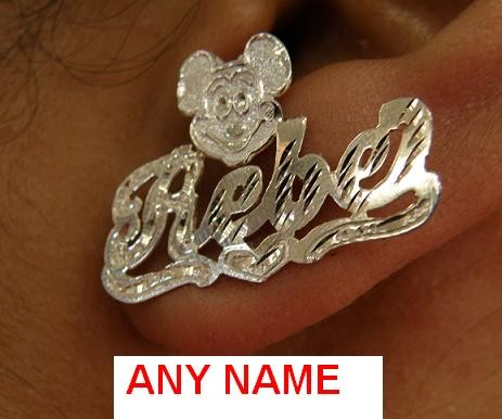 Silver Any Stud Name Earring Personalized Mickey Mouse Sp5