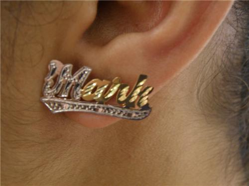 14k Gp Any Stud Name Plate Earring Personalized A Pair Spesial