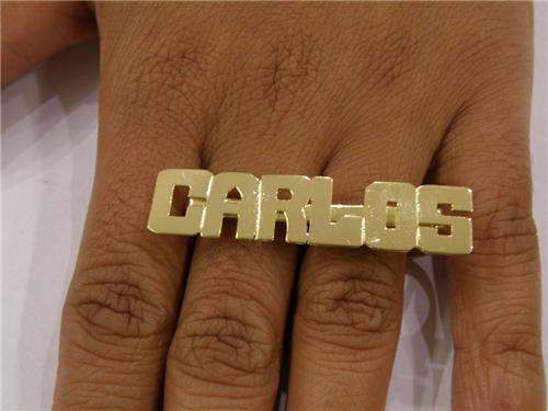 two finger nikfine gp plate nameplate personalized rings name