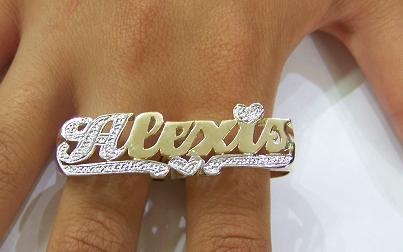 picture nameplate finger two name script jewelry rings ring love plate