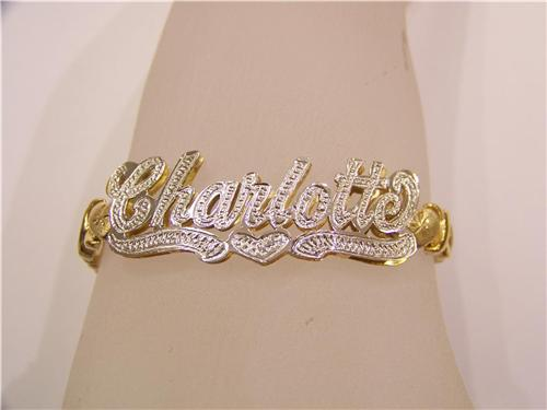14k Gp Double Name Bracelet Nameplate Personalized N2