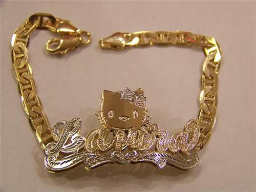 14k Gp Double Name Bracelet Personalized Carton Character